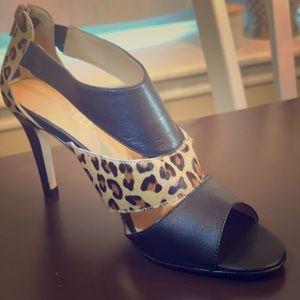 VANELI Black Leather & Camel Leo Hair Combo Shoe